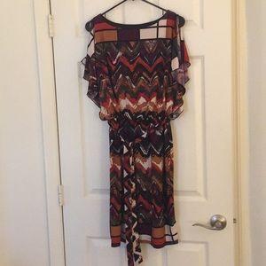 Geometric print cold shoulder lined belted dress